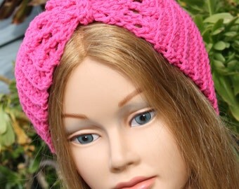 TURBAN Headband,adjustable, narrower at back,Pink, hip turban headband,60s look,summer,teen to adults, READY to SHIP,