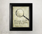 """Vintage Sherlock Holmes Quote // 8x10 Print """"When you have eliminated the impossible"""" Printed Artwork (Bookworm gift idea!) // READY TO SHIP"""