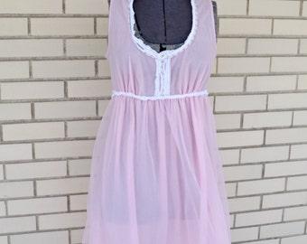 50s pink fluffy nightgown, small vintage nylon nightie, 1950s sleepwear
