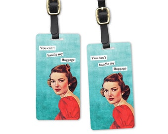 My Baggage Sassy Retro Woman Metal Luggage Tag Set Printed Personalized Custom Info On Back , 2 Tags Choice of Straps