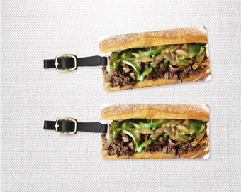 Cheesesteak Grinder Sub Hoagie Sandwich Funny Food |Personalized Luggage Tags | Metal Tag Set with Custom Backs | 2 Tags