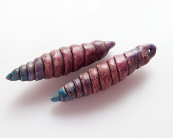 Purple Primitive Spike Pod Beads with Blue Tips