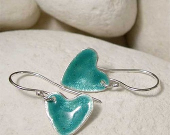 Sterling Silver Dangle Earrings, Teal Earrings, Enamel Silver Heart Earrings, Drop Earrings, Artisan Jewelry, Hand Forged Green Earrings