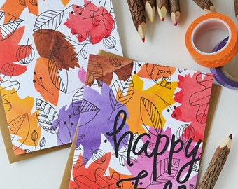 Happy Fall Set of FOUR seasonal Folded Note Cards, Autumn, Stationery, Hand Drawn, Illustration, Thanksgiving, Notecards, Greeting Cards