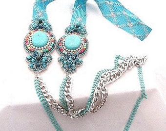 silver turquoise long necklace , morrocan passementerie jewelry , gemstones and chainmaille necklace , bead embroidered arabesque jewelry