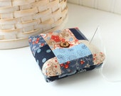 Americana Square Pincushion Red and Navy Blue Floral Pin Keep Scrappy Pin Cushion