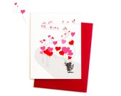Raccoon Valentine, Heart-Shaped Balloons Raccoon Greeting Card