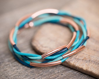 Rose Gold Mint Teal Turquoise Blue Double Wrap Bracelet Braided Leather Modern beach jewelry