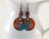 Red and Turquoise Enamel Earrings - Tribal Earrings - Artisan Earrings - Industrial Earrings -Boho Earrings -Copper Earrings -Antique Copper
