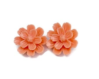 Orange Spring Dahlia Flower Clip On Earrings