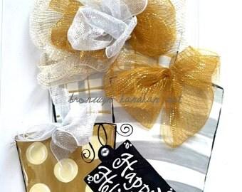 Silver + Gold Presents Door Hanger - Bronwyn Hanahan Art