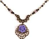 Purple Vintage Style Necklace, Swarovski Crystal Vintaj Brass Flower Necklace, Romantic Lilac Flower Necklace, Floral Boho Chic Gift Ideas