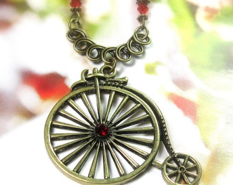 Vintage Style Penny Farthing High Wheel Bicycle Necklace, Red Swarovski Crystal Pendant Necklace, Womens Accessories, Gift Ideas For Her