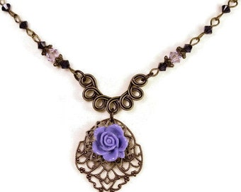 Purple Vintage Style Necklace, Swarovski Crystal Vintaj Brass Flower Necklace, Romantic Lilac Flower Necklace, Floral Boho Chic Gift Ideas