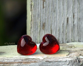Red Puffy Heart Earrings, Acrylic Heart Studs, Titanium Posts, 12mm