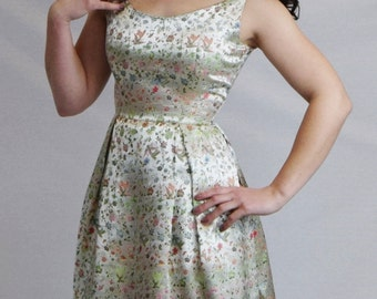 Adorable 1950's Satin Damask Dress
