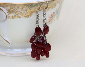Red Garnet Earrings, January Birthstone Earrings, Sterling Silver, Garnet Gemstones, Birthday Gift, Root Chakra, Cascade Earrings