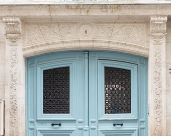 Paris Photography - Behind Blue Doors, Paris Architecture Fine Art Photograph, Gallery Wall, French Travel Home Decor, Large Wall Art