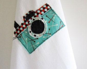 Camera Applique Tea Towel. 100% Cotton Flour Sack Dish Towel. Retro Style. Aqua Pins & Honeycomb. Dish Towel. Kitchen Decor.