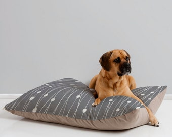 Modern Geometric Dog Bed // Dog Pillow // Animal Pillow // Pet Bedding // Pet Mat // Modern Pet Bedding // Entangled Design // Gray // Grey