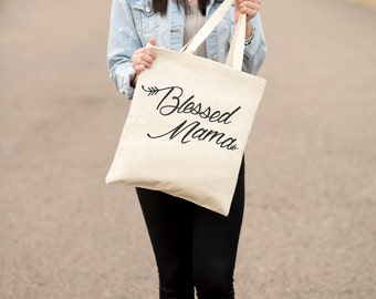 Blessed Mama, Tote Bag, Canvas, Mom, Mother, Mother's Day