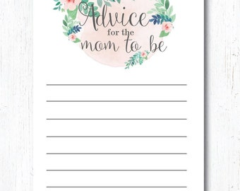 Mom to be - Printable | INSTANT DOWNLOAD | Rustic Floral Baby Shower | Pink Bridal Shower Decoration | Advice for the Mom