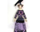 Crow Lady Small Flat Doll Ornament Handmade Vintage Look Fabric Doll Decoration Embellished Textile Art Doll Fabric Ornament