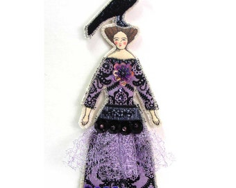 Halloween Crow Lady Small Flat Doll Ornament Handmade Vintage Look Fabric Doll Decoration Embellished Textile Art Doll Fabric Ornament