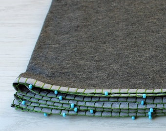 Grey scarf,scarf with embroidered beads, hand made scarf, circle scarf, everlasting scarf