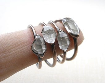 Herkimer Diamond ring - Quartz Crystal Ring - Copper and Herkimer Ring - Stacking Crystal Ring - alternative engagement ring