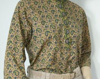 Paisley Blouse Vintage Cotton Blouse India Style Olive Hippie Top Size Medium