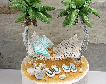 """For Small 5"""" Cake Top Beach Honeymoon Hammock Wedding Cake Topper Your Custom Colors Handmade To Order With Palm Trees, Flip Flops, And More"""