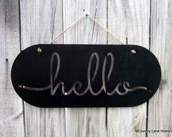 Hello Sign, Black, Glossy, Painted Wood, Laser Cut Sign, Greeting, Hello, Welcome Sign, Laser Cut Out, Jute Hanger, Hand Painted