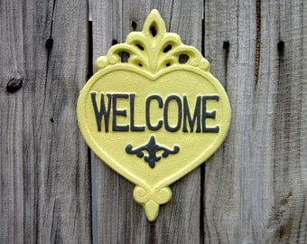 Welcome Sign, Yellow, Gray, Plaque, Cast Iron, Welcome, Door Welcome Sign, Heart Plaque, Ornate Welcome Plaque, Indoor, Outdoor