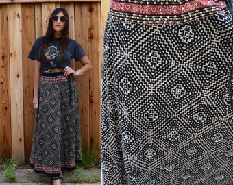 Vintage 90s Cotton BOHO MAXI Skirt OS