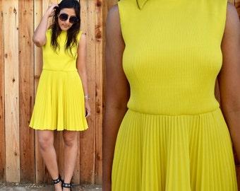 Vintage 60s Vibrant Yellow MOD MINI Dress S