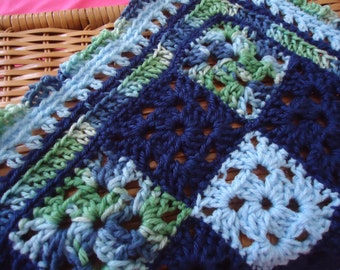 Baby Boy Afghan Blankie Blues Snuggly Softee