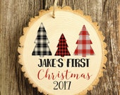 Baby's First Christmas  Ornament - Modern Christmas Ornament - Woodys Style Ornament - Wood Ornament - XMAS006