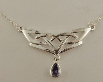 Vintage Celtic Knot silver plated necklace with Amethyst Drop