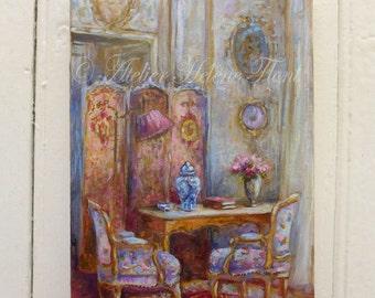 Peinture baroque & Louis XVI Français intérieur, écran, toile français, mobilier, bleu miniature en porcelaine © Hélène Flont conçoit