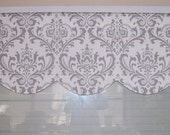 Reserved, Lined scallop valance, 48 x 16 inches, plus runner, traditions grey and white damask,