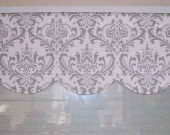 RTS Lined scallop valance, 72 x 16 inches, traditions grey and white damask,