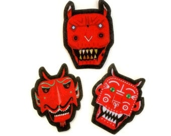 Red Devil Felt Patches, iron on jean jacket patch, sew on applique