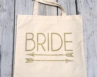 Eco-Friendly Bride Arrows Gold Bachelorette Party Reusable Canvas Tote Bag