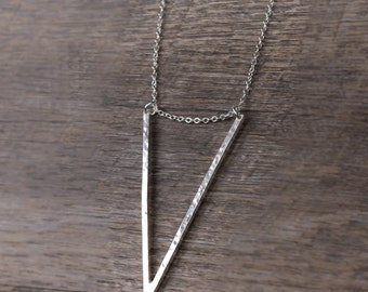 Hammered Sterling Silver V Necklace, Unique Handmade Silver Jewelry, Geometric Necklace, Statement Necklace