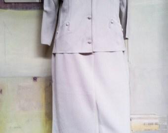 Vintage French. Italian. Australian Womens skirt suit. Spangaro Knitted Skirt Suit. Original 'Farmer's' box. Vintage Clothing.  Silver/grey