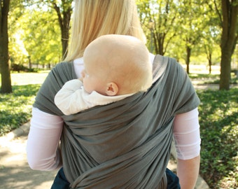 Cotton Baby Carrier Hybrid Stretch Wrap For Front & Back Carries- Comfort of a Stretchy Wrap and the Support of a Woven Wrap -Charcoal Gray