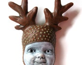 Polka Dot Antler Mini Mask - Horns Buck Circles Dots Baby Face Doll Deer Reindeer Tupe Hanging Wall Sculpture Rack Point Rudolph Christmas
