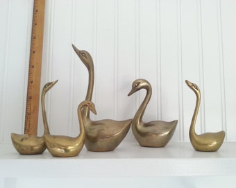 5 Solid Brass Swans, Metal Home Decor, Traditional Decorating, Bird Sculptures