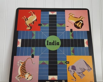 Vintage India Jungle Animals and Checkers 11.5X11.5 Game Board